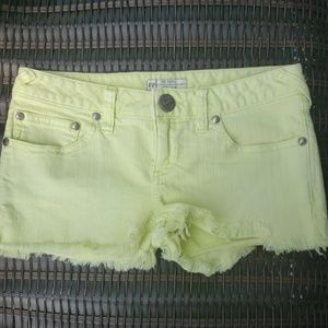 Free People Sz 28 neon yellow green denim shorts
